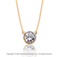 1/10 Carat Diamond Flat Loops 14k Yellow Gold Solitaire Pendant