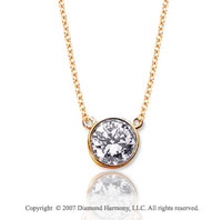 1/4 Carat Diamond Flat Loops 14k Yellow Gold Solitaire Pendant