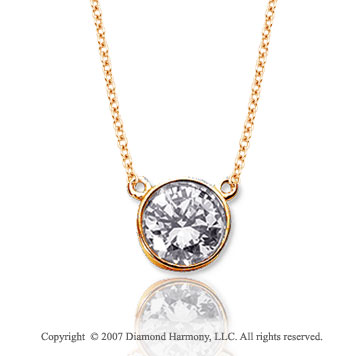 1/2 Carat Diamond Flat Loops 14k Yellow Gold Solitaire Pendant