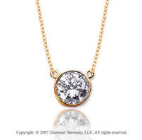 3/4 Carat Diamond Flat Loops 14k Yellow Gold Solitaire Pendant