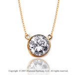 1 Carat Diamond Flat Loops 14k Yellow Gold Solitaire Pendant