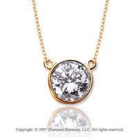 1 1/2 Carat Diamond Flat Loops 14k Yellow Gold Solitaire Pendant