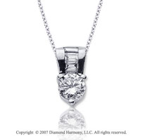 1.10 Carat Diamond Fine Bail 14k White Gold Solitaire Pendant