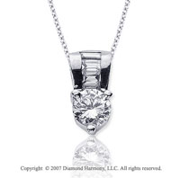 1 1/3 Carat Diamond Fine Bail 14k White Gold Solitaire Pendant