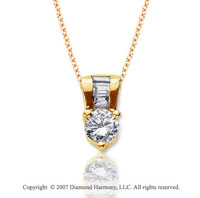 .80 Carat Diamond Fine Bail 14k Yellow Gold Solitaire Pendant