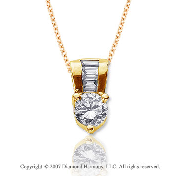 1.10 Carat Diamond Fine Bail 14k Yellow Gold Solitaire Pendant