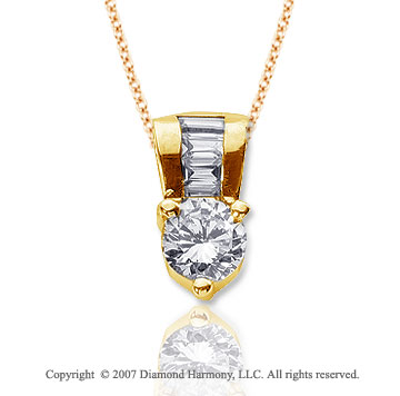 1 1/3 Carat Diamond Fine Bail 14k Yellow Gold Solitaire Pendant