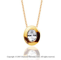 1/4 Carat Diamond Oval Bezel 14k Yellow Gold Solitaire Pendant