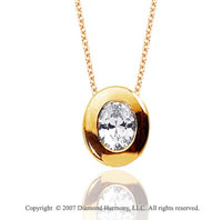 1/2 Carat Diamond Oval Bezel 14k Yellow Gold Solitaire Pendant