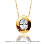 1 Carat Diamond Oval Bezel 14k Yellow Gold Solitaire Pendant