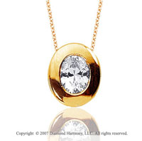 1 1/2 Carat Diamond Oval Bezel 14k Yellow Gold Solitaire Pendant