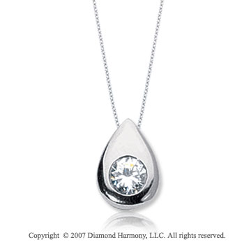 1/4 Carat Diamond Pear Bezel 14k White Gold Solitaire Pendant