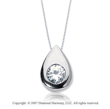 1/2 Carat Diamond Pear Bezel 14k White Gold Solitaire Pendant