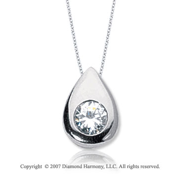 7/8 Carat Diamond Pear Bezel 14k White Gold Solitaire Pendant