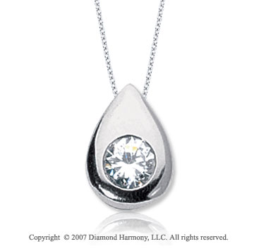 1 Carat Diamond Pear Bezel 14k White Gold Solitaire Pendant