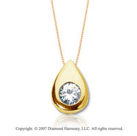 1/3 Carat Diamond Pear Bezel 14k Yellow Gold Solitaire Pendant