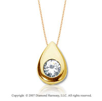 1/2 Carat Diamond Pear Bezel 14k Yellow Gold Solitaire Pendant