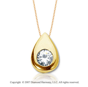 7/8 Carat Diamond Pear Bezel 14k Yellow Gold Solitaire Pendant
