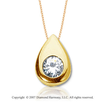 1 Carat Diamond Pear Bezel 14k Yellow Gold Solitaire Pendant