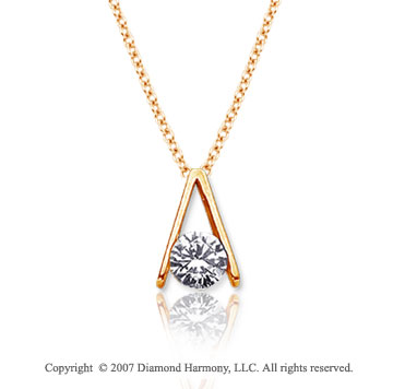 1/4 Carat Diamond Ladder 14k Yellow Gold Solitaire Pendant