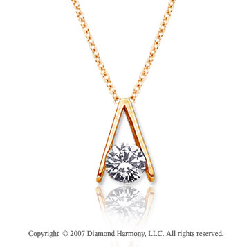 1/2 Carat Diamond Ladder 14k Yellow Gold Solitaire Pendant