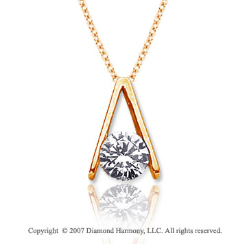 3/4 Carat Diamond Ladder 14k Yellow Gold Solitaire Pendant