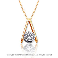 1 Carat Diamond Ladder 14k Yellow Gold Solitaire Pendant