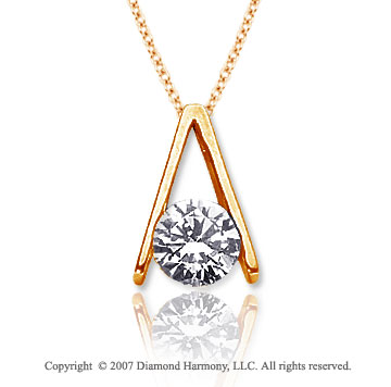 1 1/2 Carat Diamond Ladder 14k Yellow Gold Solitaire Pendant