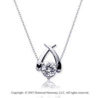 1/4 Carat Diamond Crossover 14k White Gold Solitaire Pendant
