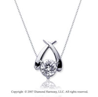 1/3 Carat Diamond Crossover 14k White Gold Solitaire Pendant