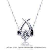 1/2 Carat Diamond Crossover 14k White Gold Solitaire Pendant
