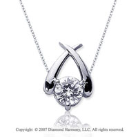 3/4 Carat Diamond Crossover 14k White Gold Solitaire Pendant