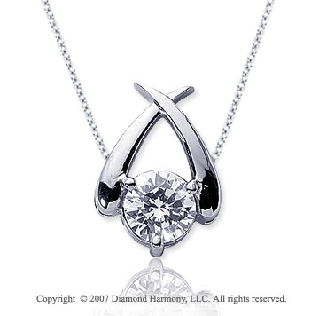 1 Carat Diamond Crossover 14k White Gold Solitaire Pendant