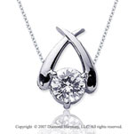 1 1/2 Carat Diamond Crossover 14k White Gold Solitaire Pendant