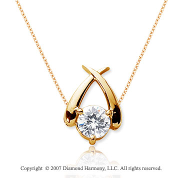 1/3 Carat Diamond Crossover 14k Yellow Gold Solitaire Pendant