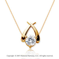 3/4 Carat Diamond Crossover 14k Yellow Gold Solitaire Pendant