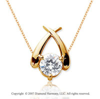 1 Carat Diamond Crossover 14k Yellow Gold Solitaire Pendant