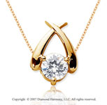 1 1/2 Carat Diamond Crossover 14k Yellow Gold Solitaire Pendant