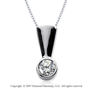2/3 Carat Diamond Full Bail 14k White Gold Solitaire Pendant