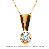 2/3 Carat Diamond Full Bail 14k Yellow Gold Solitaire Pendant