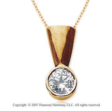 1 1/2 Carat Diamond Full Bail 14k Yellow Gold Solitaire Pendant