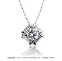3/4 Carat Diamond Fine Channel 14k White Gold Solitaire Pendant