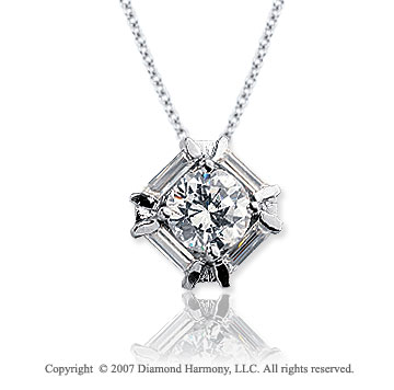 1 1/3 Carat Diamond Bold Channel 14k White Gold Solitaire Pendant