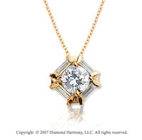 3/4 Carat Diamond Fine Channel 14k Yellow Gold Solitaire Pendant