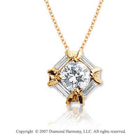 1 1/3 Carat Diamond Bold Channel 14k Yellow Gold Solitaire Pendant
