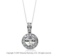 3/4 Carat Diamond Circle 14k White Gold Solitaire Pendant