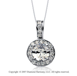 1 1/2 Carat Diamond Circle 14k White Gold Solitaire Pendant