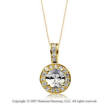 3/4 Carat Diamond Circle 14k Yellow Gold Solitaire Pendant