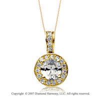 1 Carat Diamond Circle 14k Yellow Gold Solitaire Pendant