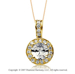 1 1/2 Carat Diamond Circle 14k Yellow Gold Solitaire Pendant